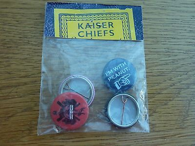 2005 Kaiser Chiefs Sealed Bag Of 4 One Inch Pin Badges Original