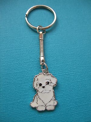 Maltese Puppy Charm Keyring Dog Metal Bag Key Ring White Maltipoo Enamelled
