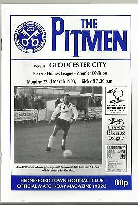 NON LEAGUE HEDNESFORD TOWN v GLOUCESTER CITY 1992/93 SOUTHERN LEAGUE