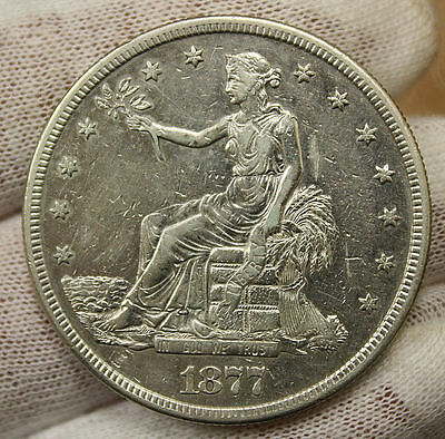 1877 S Seated Liberty Silver Trade Dollar Coin! 3