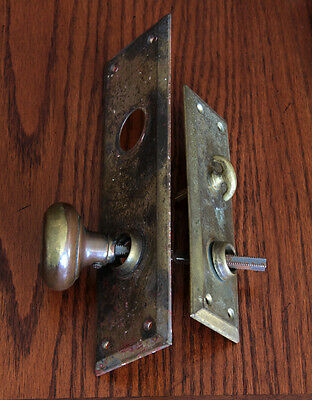 Antique American Wrought Brass Door Knob w/ Steel Plates. Early 1900s- Hardware