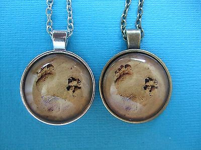 Dog Paw Print in Sand Necklace & Pendant Dog Puppy Glass Metal Footprint Beach