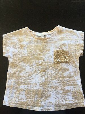 Witchery Kids Gold and White Tee Shirt Size 2