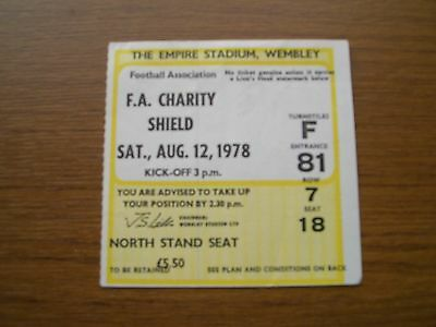 F A Charity Shield Ticket 1978 Ipswich v Nottingham Forest