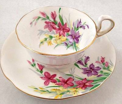 Royal Standard Teacup & Saucer Garden Glory Bone China Colourful Glads