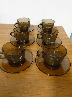Pirex Smoked Glass Cups And Saucers