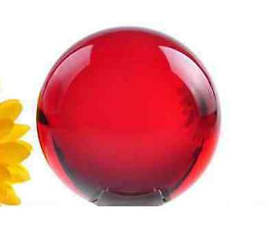 Asian 40mm Red Magic Crystal Healing Ball Sphere + Stand