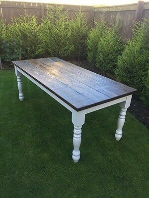 Reclaimed Wood 8 Seater Scaffold Board Farmhouse Dining Table