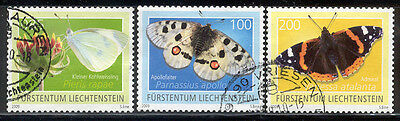 Liechtenstein - Nice lot of 3 used butterfly stamps  Lot # 75