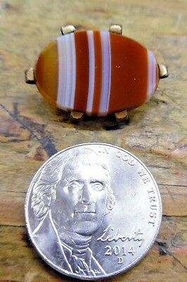 ANTQ Estate Victorian Oval Carnelian Stripe Banded Agate Pin Brooch C Clasp