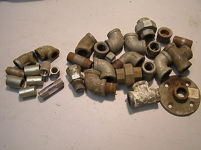 """Approx 30 Steel & Galvanized 3/8"""" - 1/2"""" Fittings Tees Elbows Union Steampunk"""