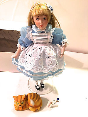 Danbury Mint Alice in Wonderland Doll Storybook Collection Porcelain 1987 COA