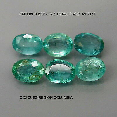 EMERALD BERYL NATURAL MINED UNTREATED x 6 TOTAL 2.49Ct  MF7157