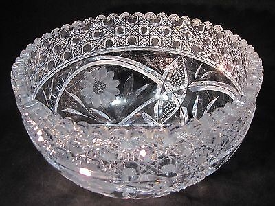 """McKee Innovation Glass 8"""" Bowl Flowers Double Mitered Cane Scalloped Edge"""