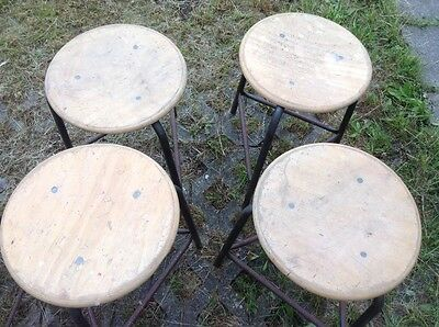 Vintage Mid Cent Industrial Workshop Stool Steel loft Cafe Chair reclaimed