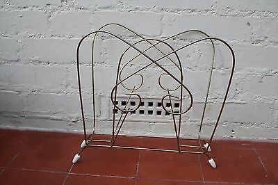 Vintage Magazine Rack 1950's Metal French Style Shabby Chic