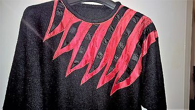 Vintage!! Stunning Black and Red Batwing Jumper size 12 -14