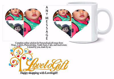 Personalised Mug 6 Photo Collage Heart Shape 2 Custom Design Gift Tea Coffee Cup
