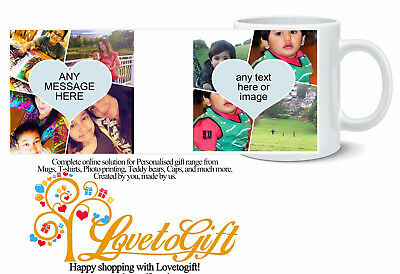 Personalised Mug 10 Photo Collage Heart Love Add Ur  Text Gift Tea Coffee Cup
