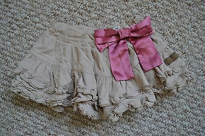 Lovely Joules Girls Beige Spotted Ruffle Cotton Skirt With Pink Bow 3 Years VGC
