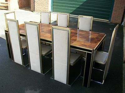 Willy Rizzo Romeo Rega 70's large dining table 8 chairs gold brass chrome rare