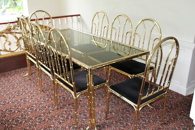Vintage 1980's gold brass bamboo style dining set table 8 chairs glass top