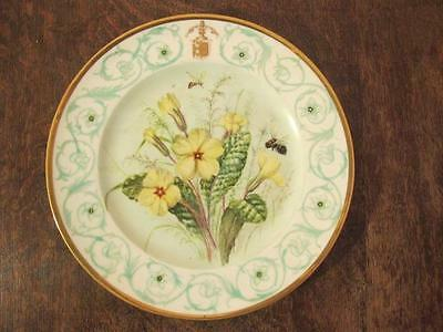 19thC SEVRES MARKED PARIS PORCELAIN HANDPAINTED ARMORIAL CRESTED PRIMROSE PLATE