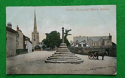 A 1907 Valentines Postcard of Repton School Cross and Church