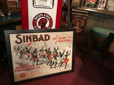 "1891 CHICAGO OPERA HOUSE ""SINBAD"" Play Cromeo Lithograph Poster  ""Watch Video"""