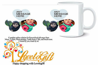 Personalised Mug 6 Photo Collage 3 Hearts  Any Text Design Gift Tea Coffee Cup