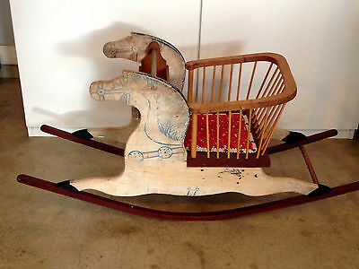 Antique Child's Rocking Horse Chair With Padded Seat & Play Tray Baby Nursery