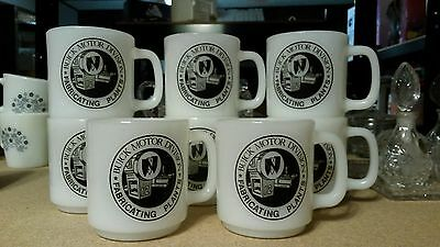 8 Vintage  Buick Motor Division Milk Glass Coffee Cup Mug Never Used