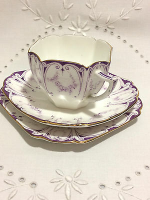 Extremely RARE Shelley China Trio, Queen Anne Purple & White Pattern No. 11628