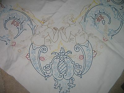 Vintage hand embroidered large linen tablecloth with chrubs and family crest