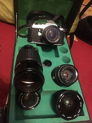 PENTAX ME SUPER ANALOGUE SLR 35mm Camera with several lenses,in original case