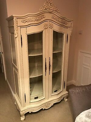 french armoire Cream Ivory Display Cabinet Wardrobe Rococo Shabby Chic Dinning