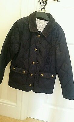 M&s Navy girls quilted equestrian style jacket age 7/8