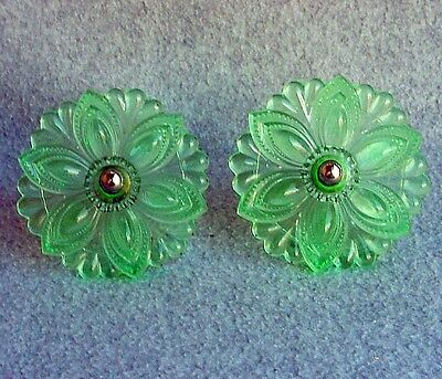 Antique Mint Green Large Sandwich Glass Curtain Tie Backs Floral Design EAPG