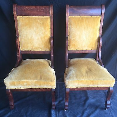 Amazing Pair Of Antique Victorian Mahogany Chairs
