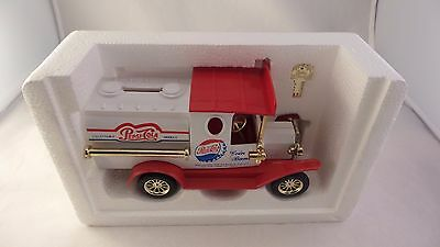 Pepsi Cola Truck Coin Bank With Key Plastic No box Comes With Protective Foam