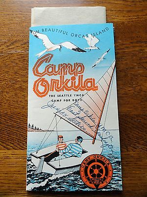 1957 CAMP ORKILA Seattle WA CAMP BOYS PACKET YMCA Great Graphics ORCAS ISLAND