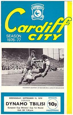 Cardiff City  V. Dinamo Tbilisi - 1976-77 - Cupwinners Cup