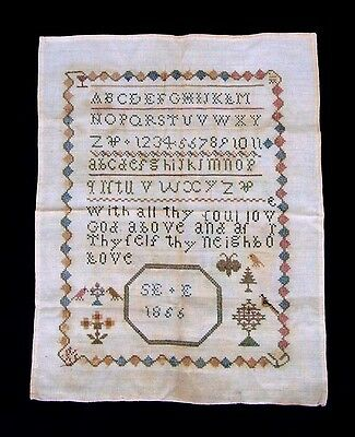 Antique Child's Sampler 1856 Silk On Linen Abc Numbers Birds Trees 19Th Century