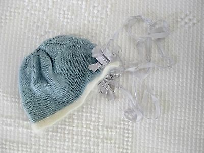 Vintage Knitted Blue and White Baby Hat Bonnet