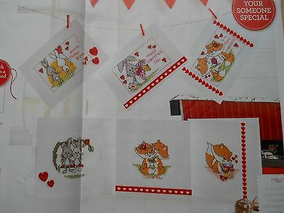 6 x Valentine's Day Cards full colour cross stitch charts by Durene Jones