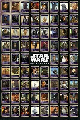 STAR WARS ~ SAGA 70 CHARACTER BIOS 24x36 MOVIE POSTER Leia Yoda Vader NEW/ROLLED