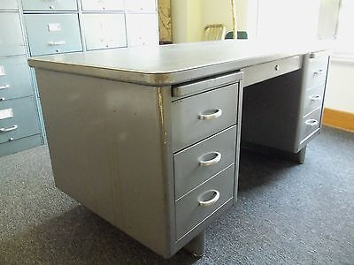 Vintage All Metal Gray TANKER DESK