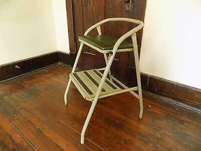 Vintage Step Stool Bench Seat Chair Mint Green Stow Away Seat Retro Indiana