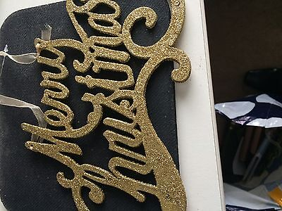 2 x  Gold Glitter Merry Christmas Hanging Glitter Signs Xmas Decoration New