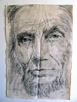 Orig. Abraham Lincoln Graphite Charcoal Canvas Drawing Signed By Dan Christoffel